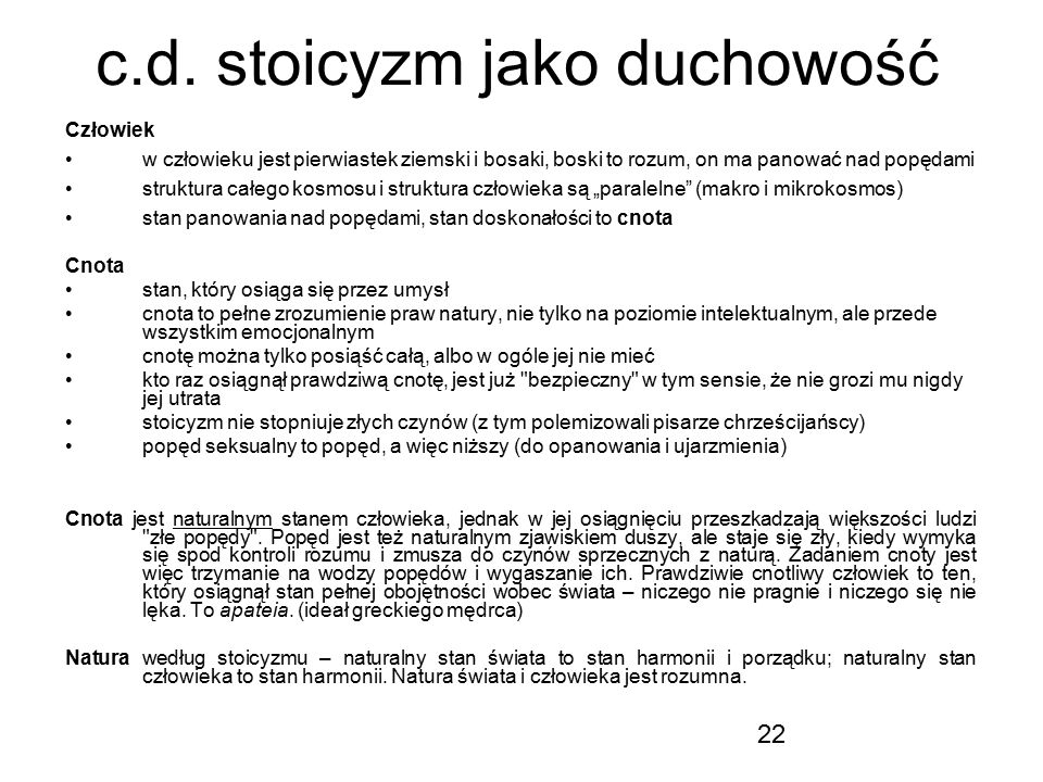 c.d. stoicyzm jako duchowość