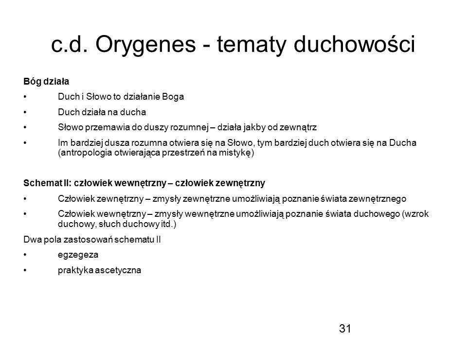 c.d. Orygenes - tematy duchowości