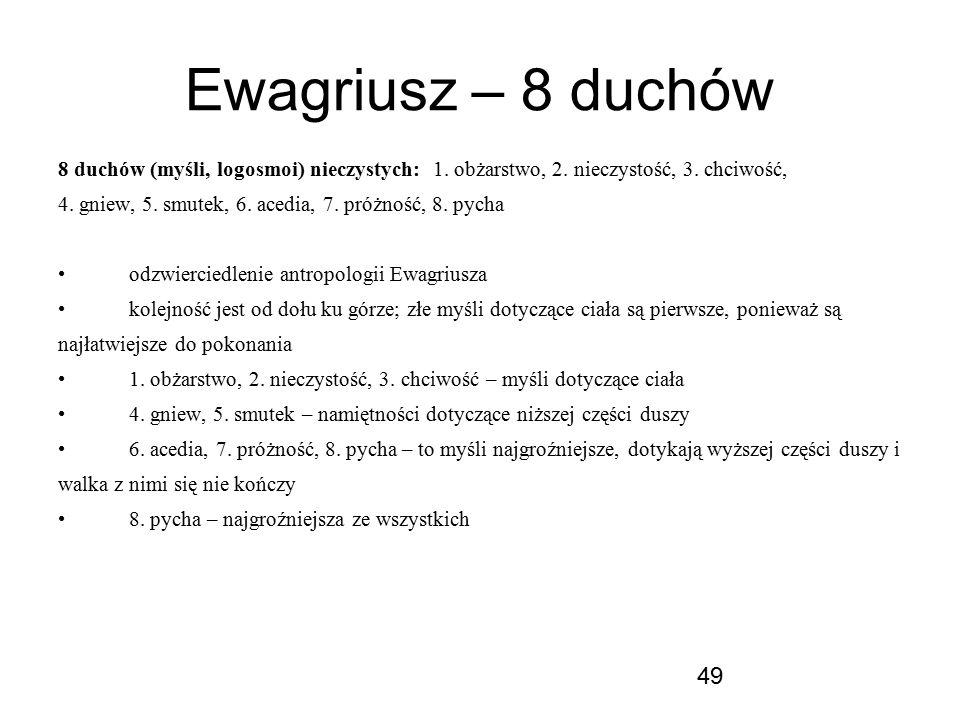 Ewagriusz – 8 duchów 8 duchów (myśli, logosmoi) nieczystych: 1. obżarstwo, 2. nieczystość, 3. chciwość,
