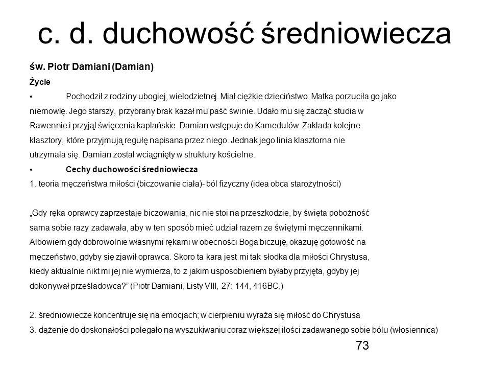 c. d. duchowość średniowiecza
