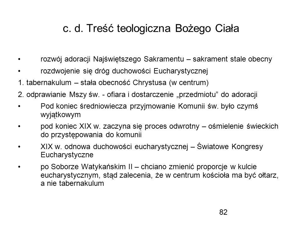 c. d. Treść teologiczna Bożego Ciała