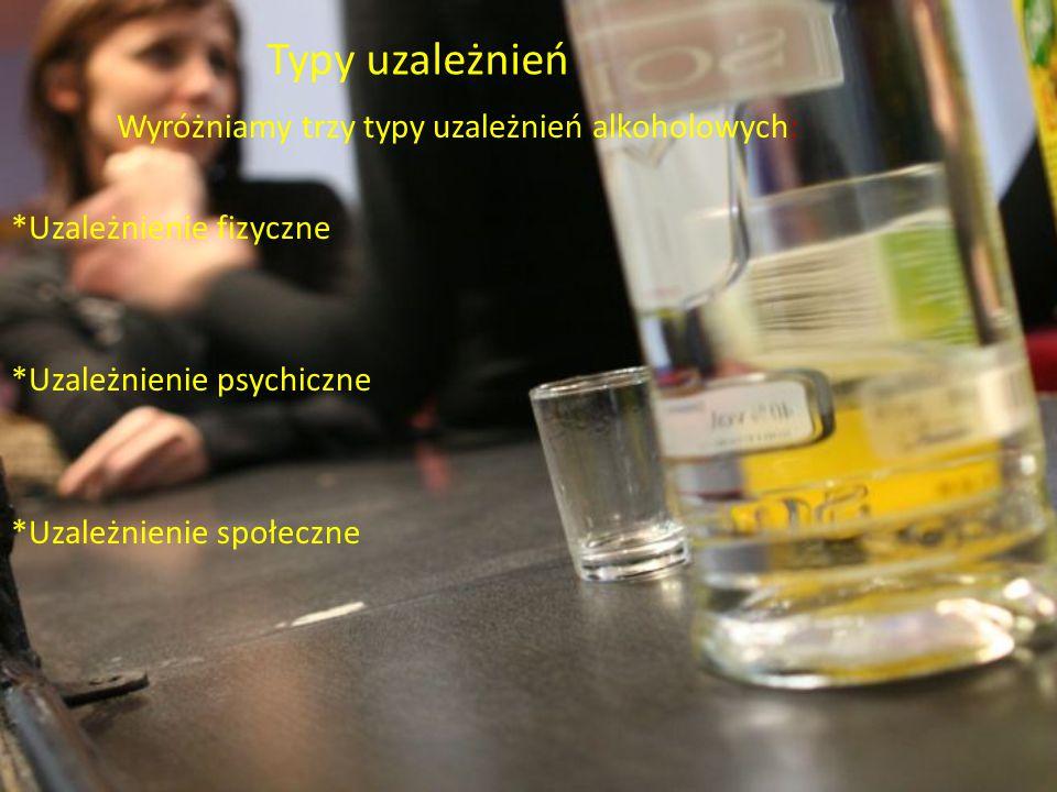 Typy uzależnień Wyróżniamy trzy typy uzależnień alkoholowych: *Uzależnienie fizyczne *Uzależnienie psychiczne *Uzależnienie społeczne