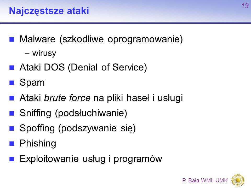 Malware (szkodliwe oprogramowanie) Ataki DOS (Denial of Service) Spam