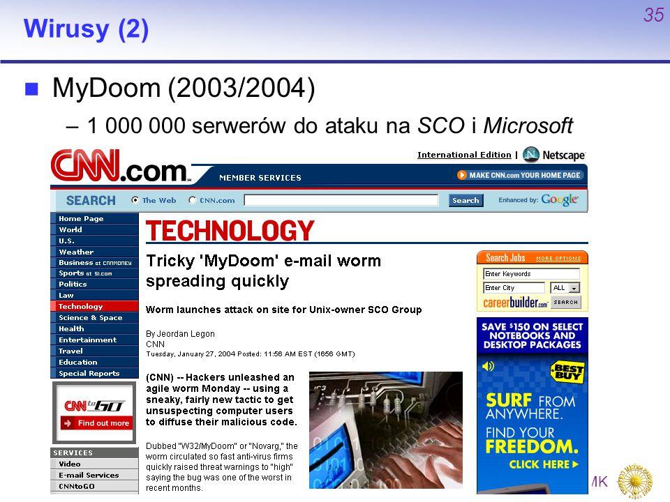 Wirusy (2) MyDoom (2003/2004) 1 000 000 serwerów do ataku na SCO i Microsoft