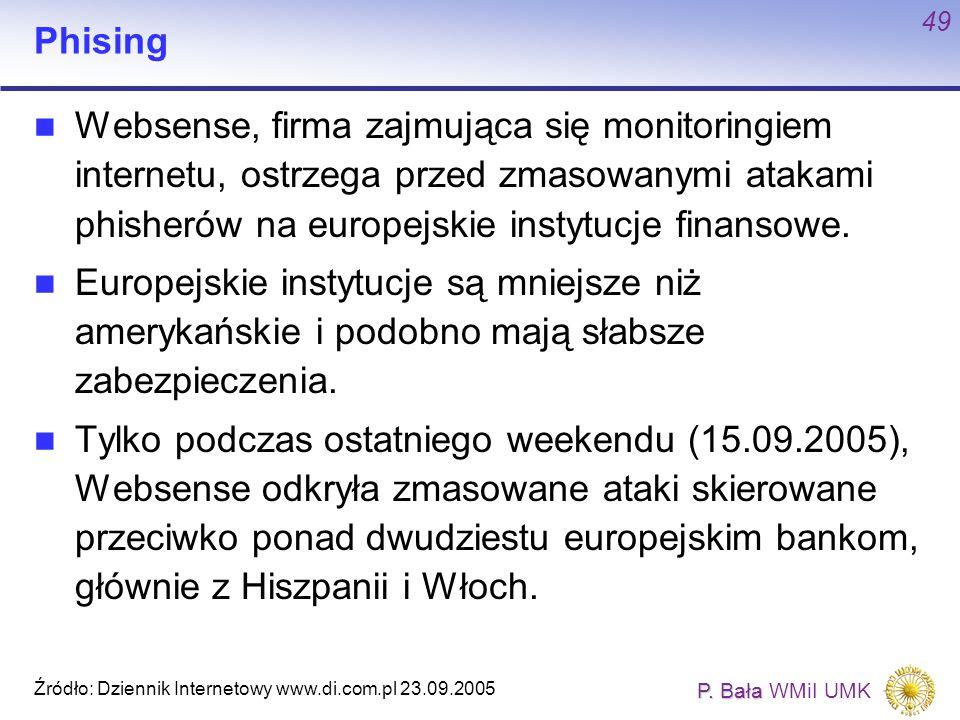Phising Websense, firma zajmująca się monitoringiem internetu, ostrzega przed zmasowanymi atakami phisherów na europejskie instytucje finansowe.
