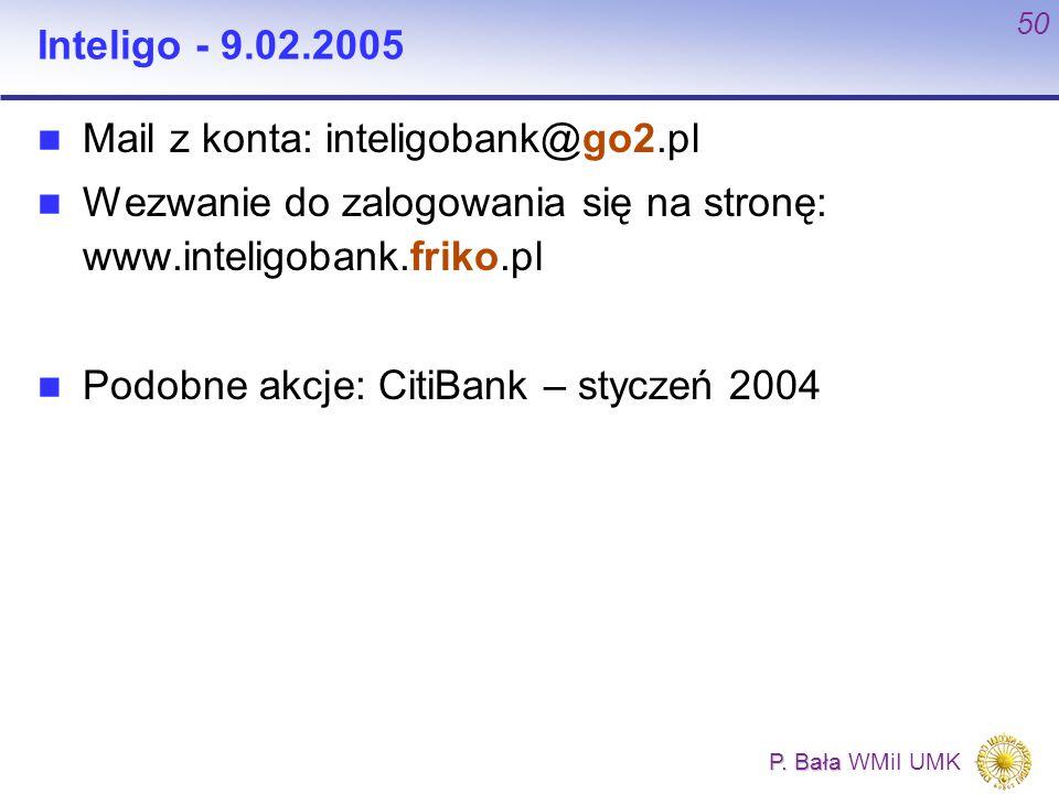 Inteligo - 9.02.2005 Mail z konta: inteligobank@go2.pl. Wezwanie do zalogowania się na stronę: www.inteligobank.friko.pl.