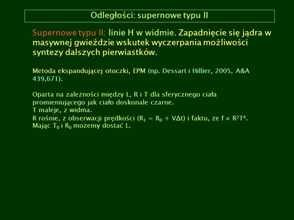 Odległości: supernowe typu II