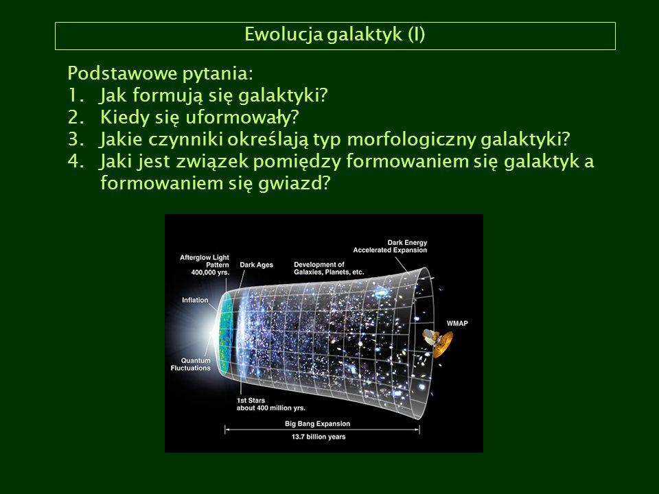 Ewolucja galaktyk (I) Podstawowe pytania: Jak formują się galaktyki Kiedy się uformowały Jakie czynniki określają typ morfologiczny galaktyki