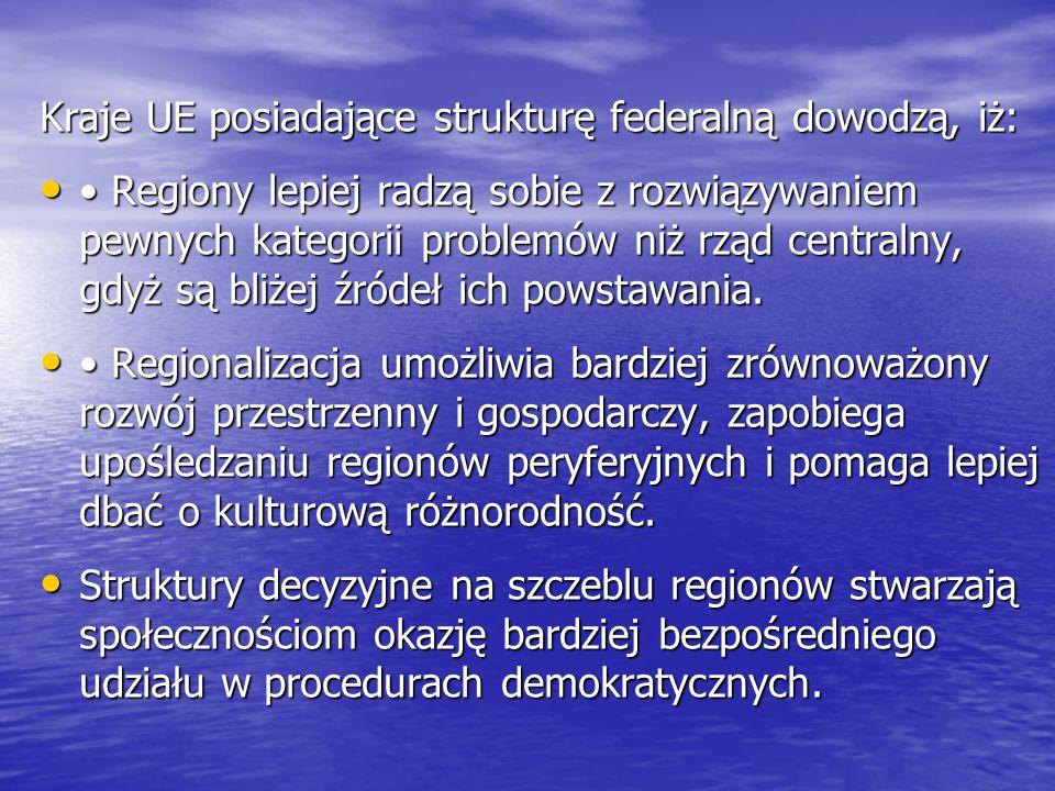 Kraje UE posiadające strukturę federalną dowodzą, iż: