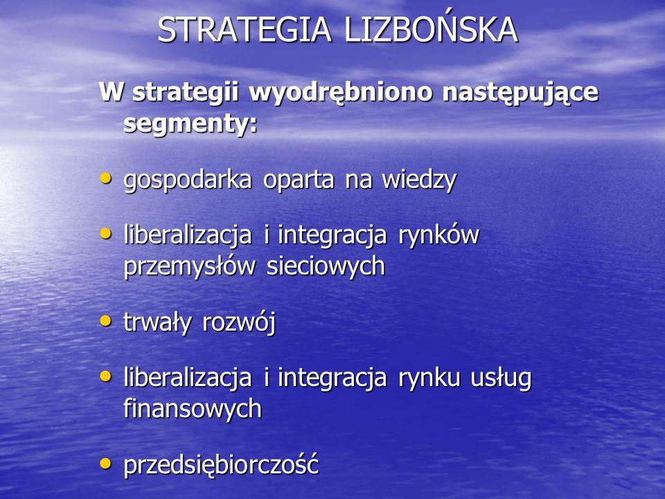 STRATEGIA LIZBOŃSKA W strategii wyodrębniono następujące segmenty:
