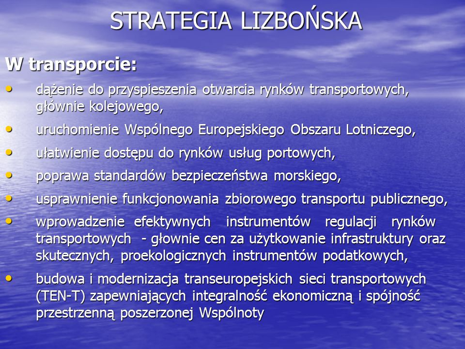 STRATEGIA LIZBOŃSKA W transporcie: