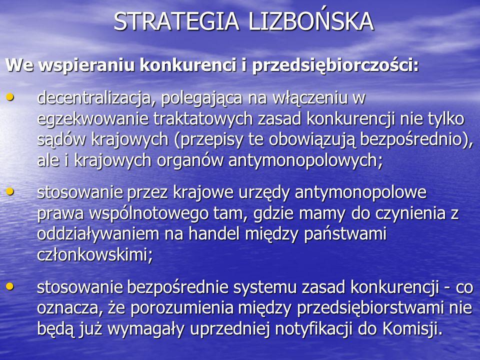 STRATEGIA LIZBOŃSKA We wspieraniu konkurenci i przedsiębiorczości: