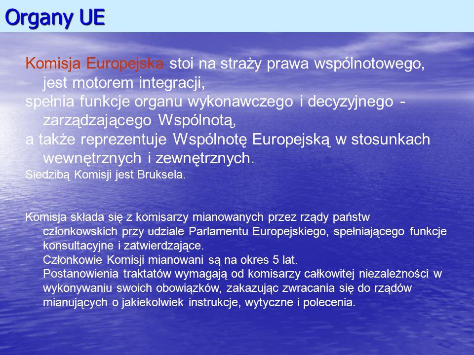 Organy UE Komisja Europejska stoi na straży prawa wspólnotowego, jest motorem integracji,