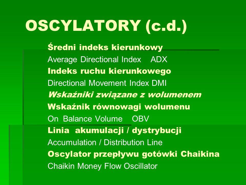 OSCYLATORY (c.d.) Średni indeks kierunkowy