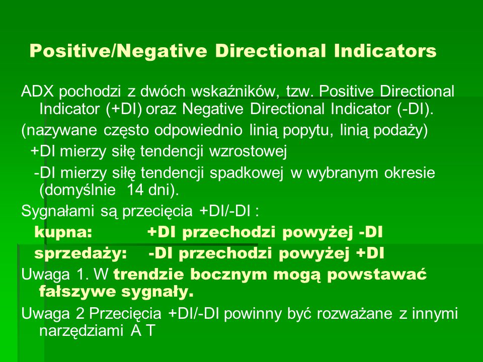Positive/Negative Directional Indicators