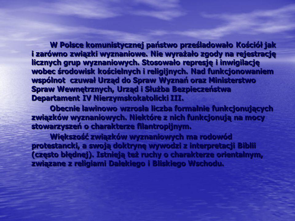 W Polsce komunistycznej państwo prześladowało Kościół jak i zarówno związki wyznaniowe. Nie wyrażało zgody na rejestrację licznych grup wyznaniowych. Stosowało represję i inwigilację wobec środowisk kościelnych i religijnych. Nad funkcjonowaniem wspólnot czuwał Urząd do Spraw Wyznań oraz Ministerstwo Spraw Wewnętrznych, Urząd i Służba Bezpieczeństwa Departament IV Nierzymskokatolicki III.