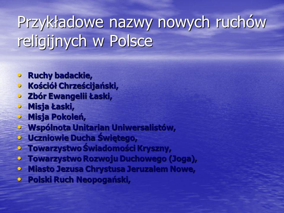 Przykładowe nazwy nowych ruchów religijnych w Polsce
