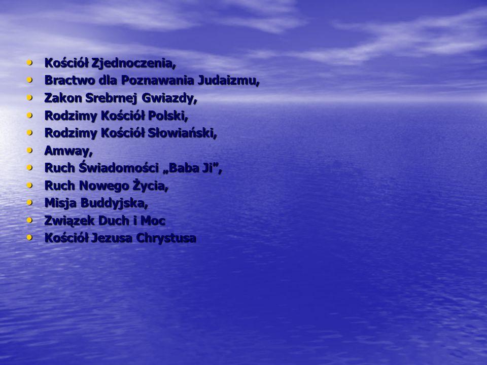 Kościół Zjednoczenia, Bractwo dla Poznawania Judaizmu, Zakon Srebrnej Gwiazdy, Rodzimy Kościół Polski,