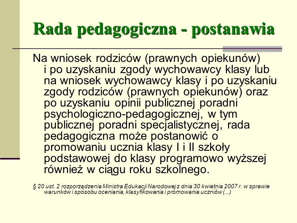 Rada pedagogiczna - postanawia