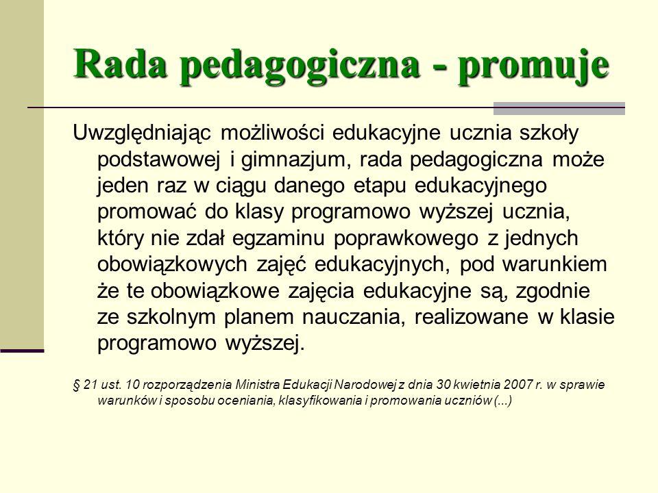 Rada pedagogiczna - promuje