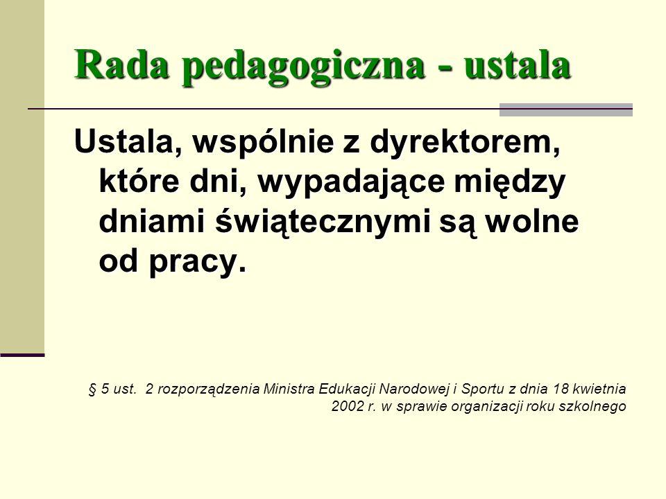 Rada pedagogiczna - ustala