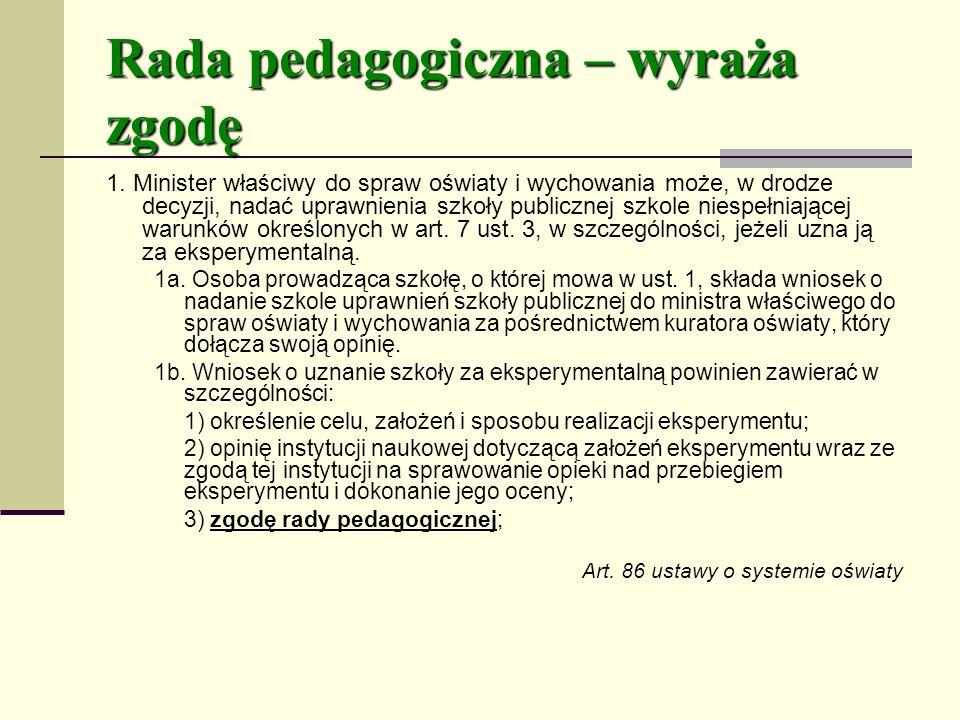 Rada pedagogiczna – wyraża zgodę