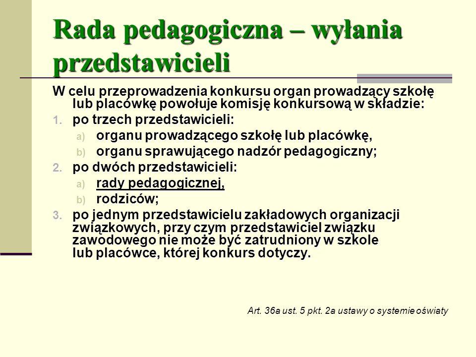 Rada pedagogiczna – wyłania przedstawicieli
