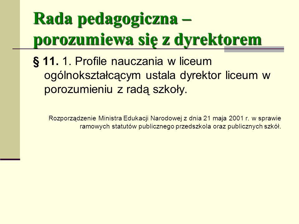 Rada pedagogiczna – porozumiewa się z dyrektorem
