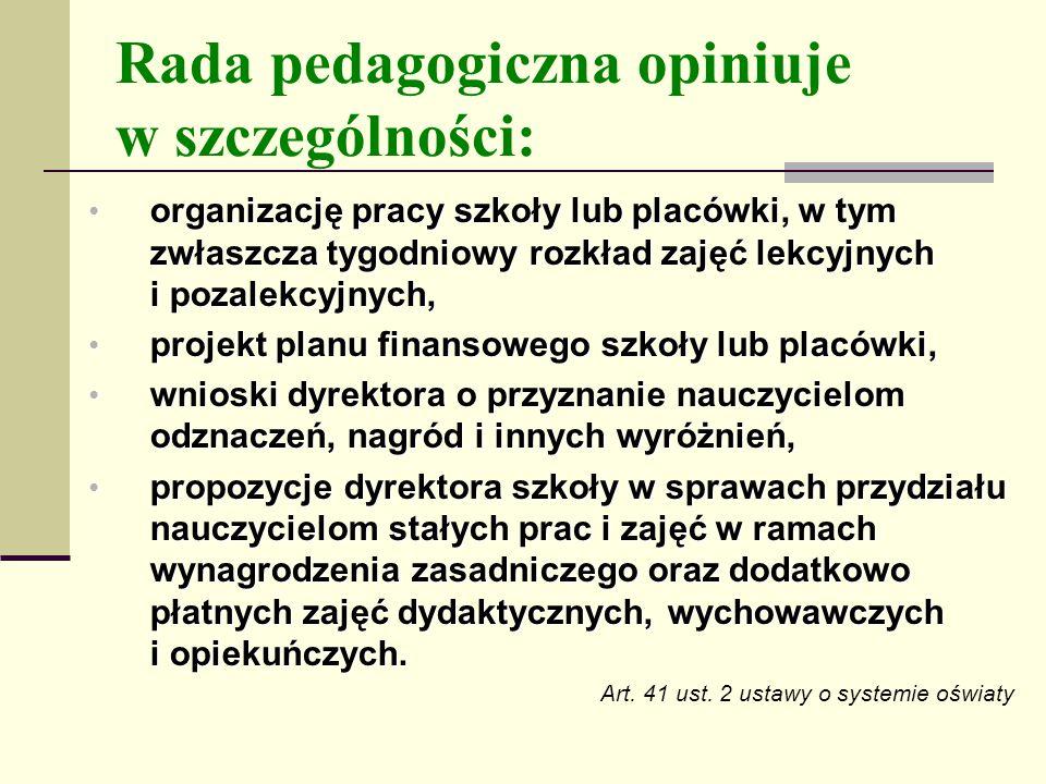 Rada pedagogiczna opiniuje w szczególności: