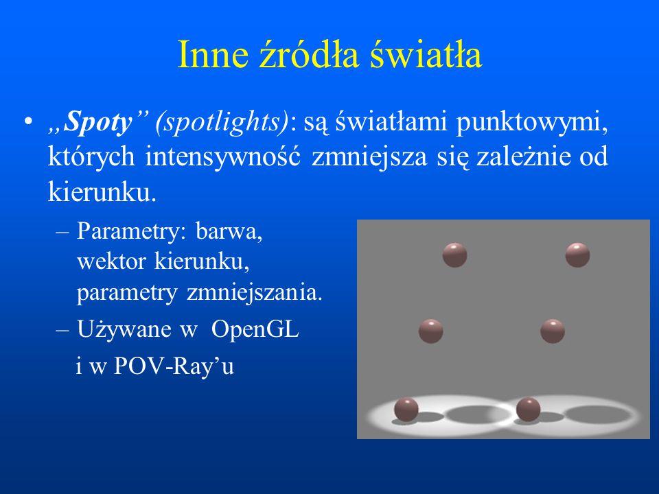 """Inne źródła światła """"Spoty (spotlights): są światłami punktowymi, których intensywność zmniejsza się zależnie od kierunku."""