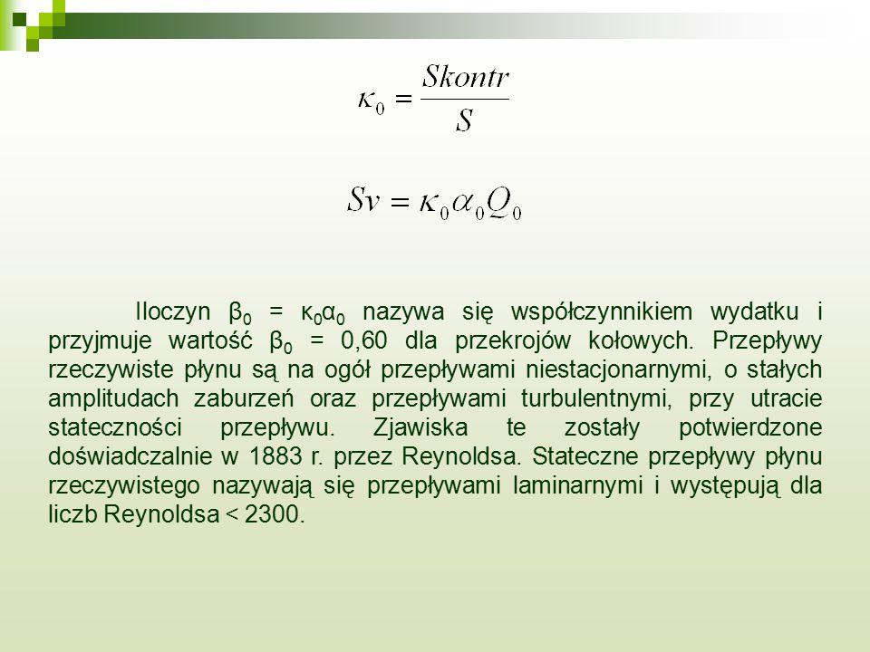 Iloczyn β0 = κ0α0 nazywa się współczynnikiem wydatku i przyjmuje wartość β0 = 0,60 dla przekrojów kołowych.