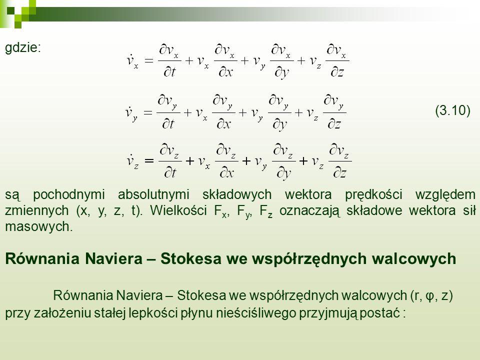 Równania Naviera – Stokesa we współrzędnych walcowych