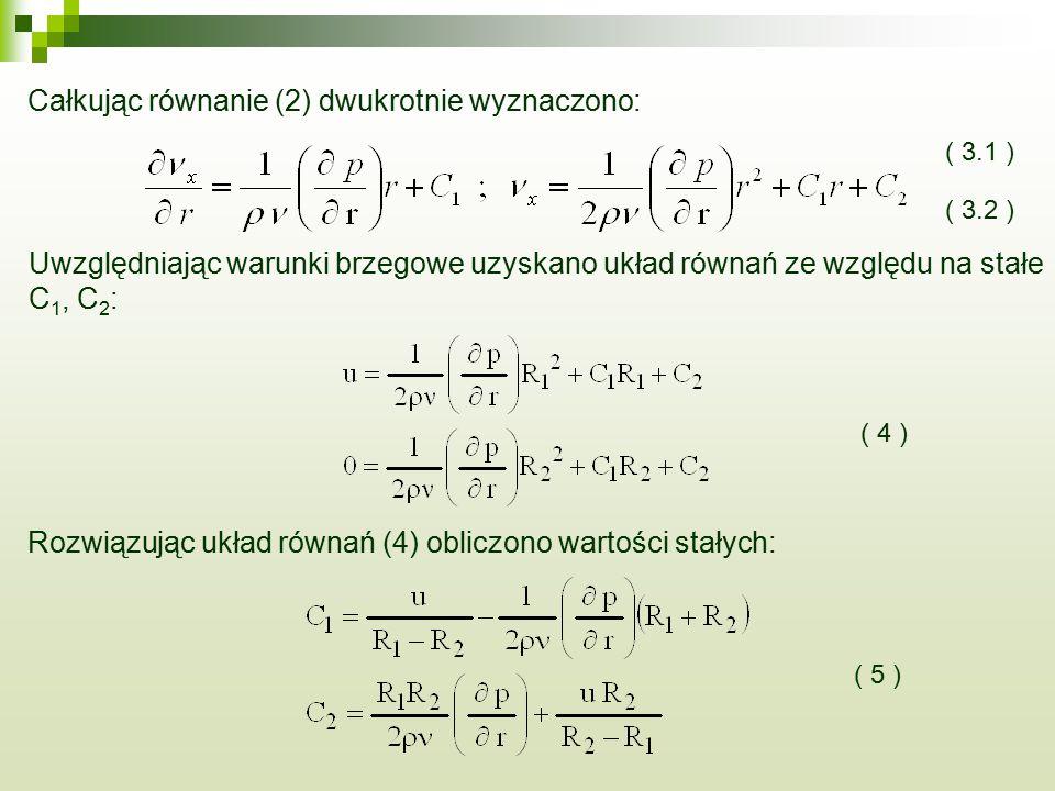 Całkując równanie (2) dwukrotnie wyznaczono: