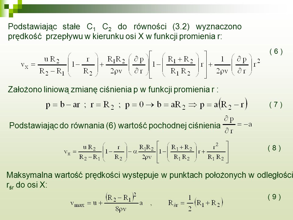 Podstawiając stałe C1 C2 do równości (3.2) wyznaczono
