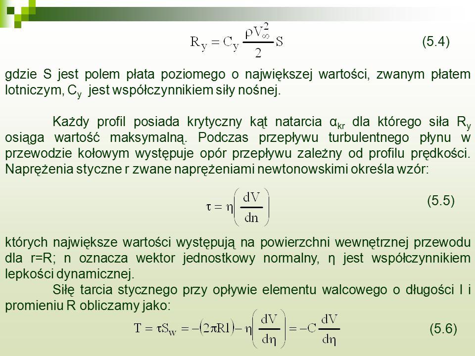 (5.4) gdzie S jest polem płata poziomego o największej wartości, zwanym płatem lotniczym, Cy jest współczynnikiem siły nośnej.