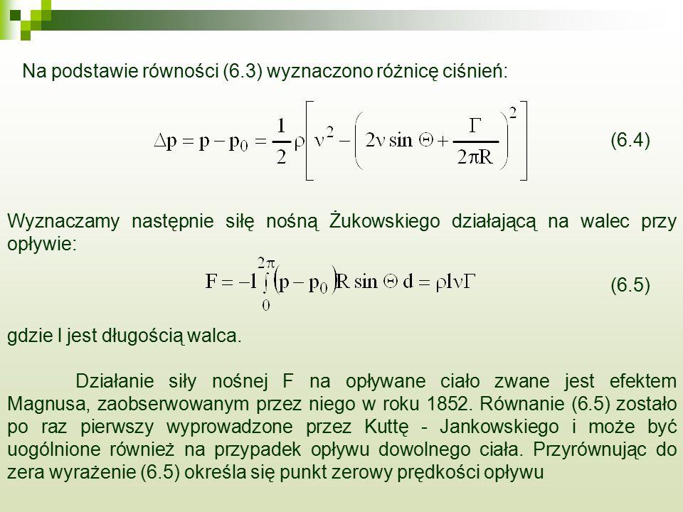 Na podstawie równości (6.3) wyznaczono różnicę ciśnień: