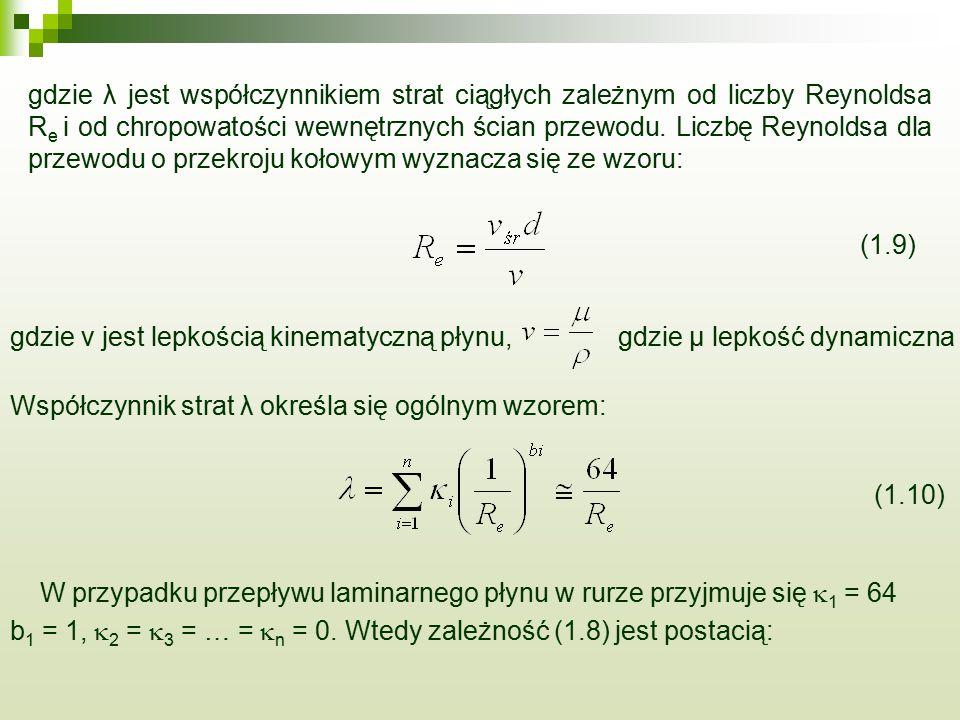 gdzie v jest lepkością kinematyczną płynu, gdzie μ lepkość dynamiczna