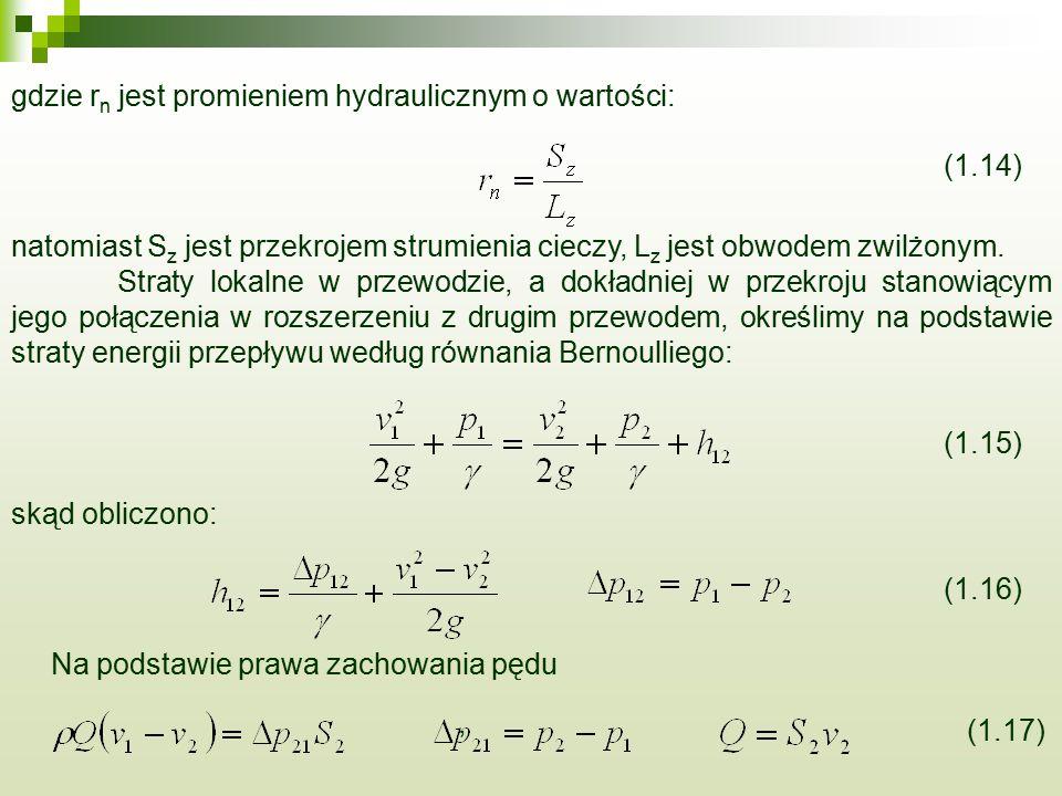 gdzie rn jest promieniem hydraulicznym o wartości: