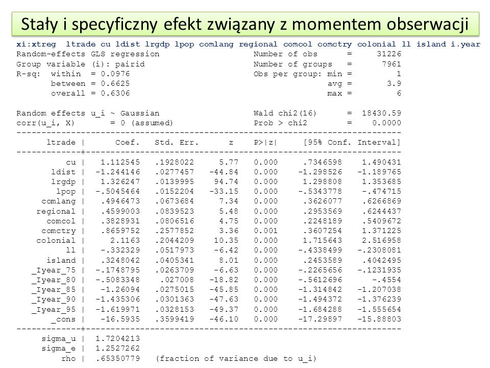 Stały i specyficzny efekt związany z momentem obserwacji