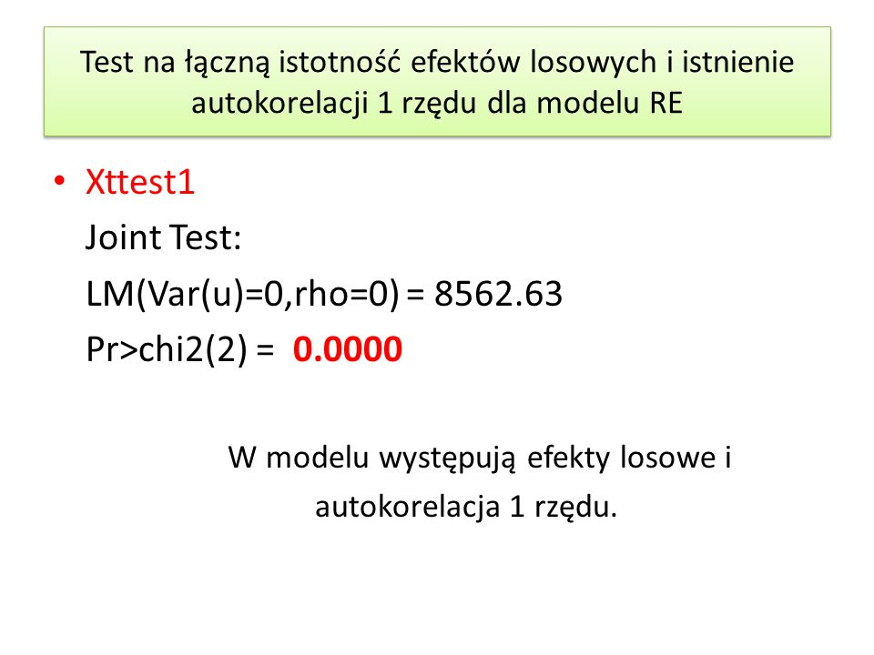 Xttest1 Joint Test: LM(Var(u)=0,rho=0) = 8562.63