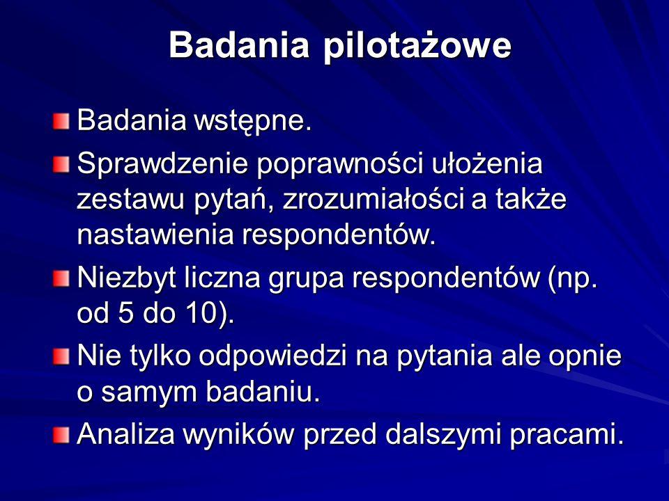 Badania pilotażowe Badania wstępne.