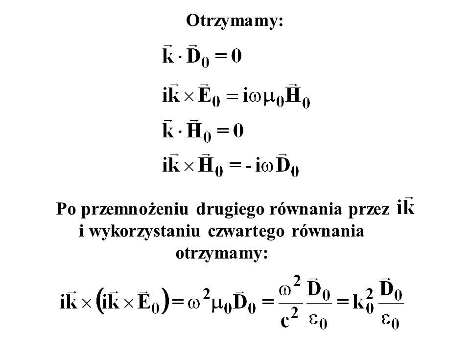 Otrzymamy: Po przemnożeniu drugiego równania przez i wykorzystaniu czwartego równania otrzymamy:
