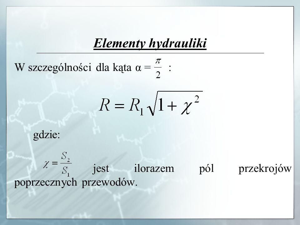 Elementy hydrauliki W szczególności dla kąta α = : gdzie: