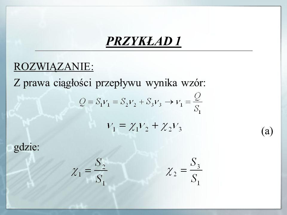 PRZYKŁAD 1 ROZWIĄZANIE: Z prawa ciągłości przepływu wynika wzór: (a)