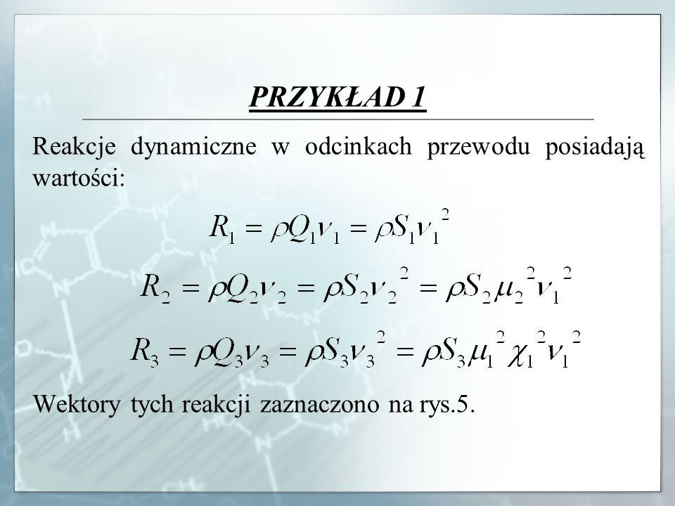 PRZYKŁAD 1 Reakcje dynamiczne w odcinkach przewodu posiadają wartości: