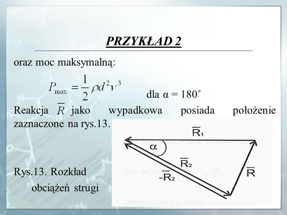 PRZYKŁAD 2 oraz moc maksymalną: dla α = 180˚