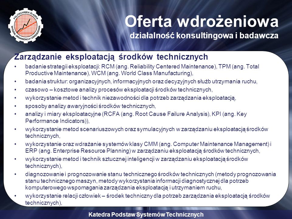 Oferta wdrożeniowa działalność konsultingowa i badawcza