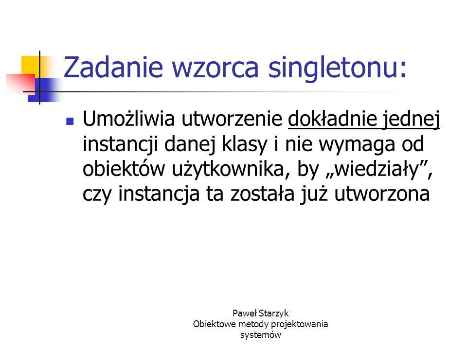 Zadanie wzorca singletonu: