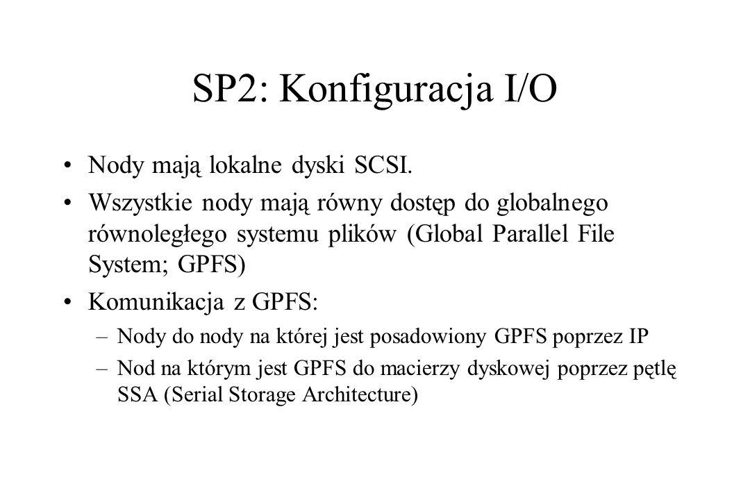SP2: Konfiguracja I/O Nody mają lokalne dyski SCSI.