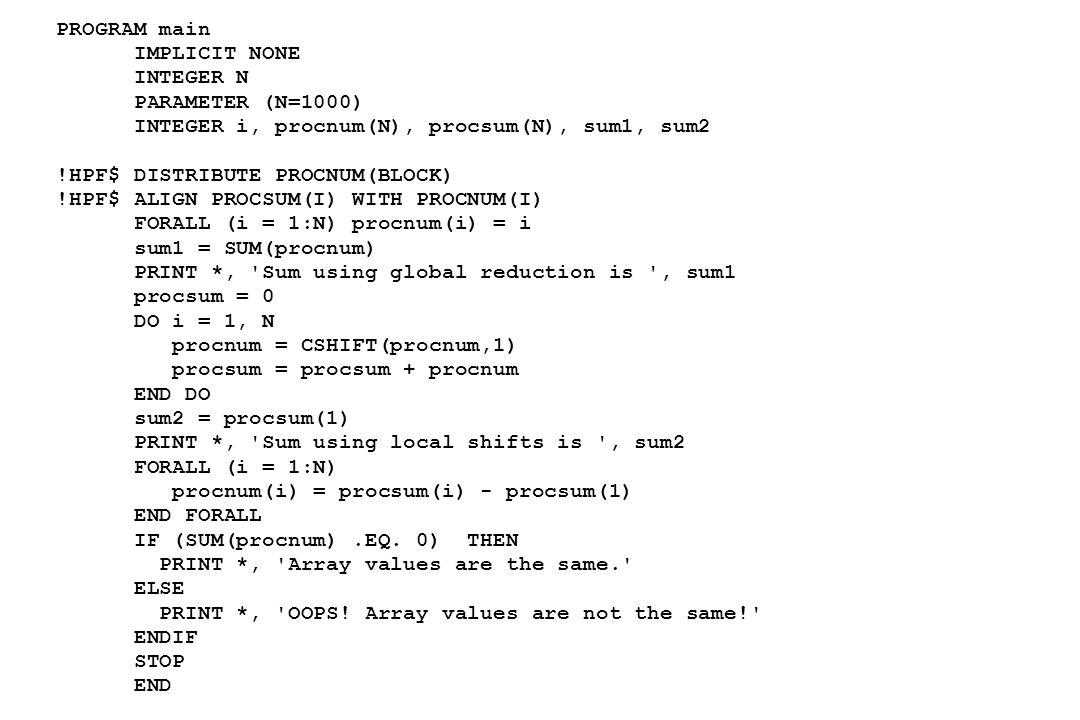 PROGRAM main IMPLICIT NONE. INTEGER N. PARAMETER (N=1000) INTEGER i, procnum(N), procsum(N), sum1, sum2.